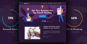 Darkmode – Agency company Landing on Divi Cake