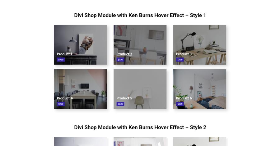 5 Divi Shop Module with Ken Burns Hover Effect