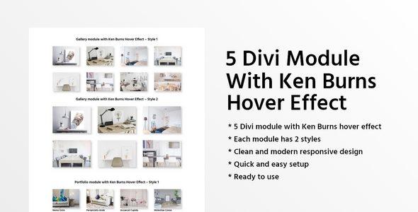 5 Divi Module With Ken Burns Hover Effect on Divi Cake