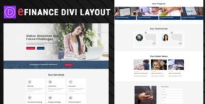 eFinance Divi Layout on Divi Cake