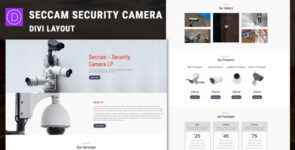 Seccam – Security Camera Services Divi Layout on Divi Cake