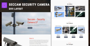 Seccam – Security Camera Services Divi Layout on Divi Cake