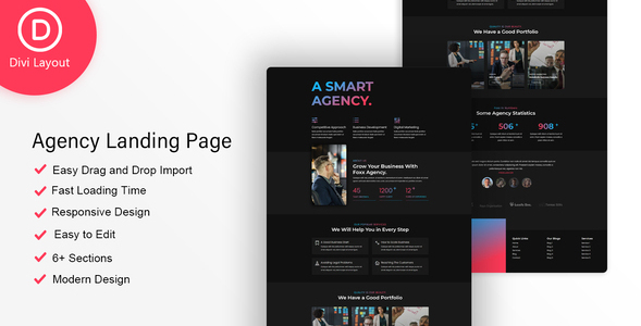 Agency Layout on Divi Cake