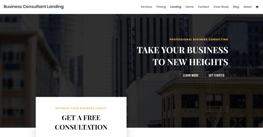 Business Consultant Divi Landing Page Layout
