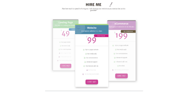 Colorful Pricing Table on Divi Cake