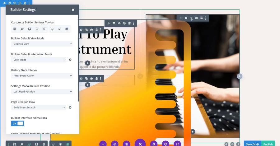 Customize Builder Settings Toolbar