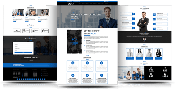 Divi Finance & Consulting Multipurpose Child Theme on Divi Cake