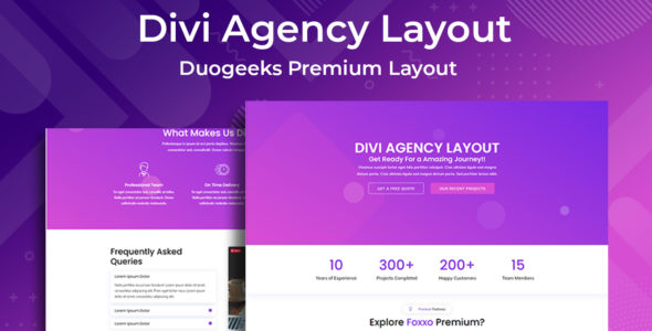 Divi Agency Layout on Divi Cake