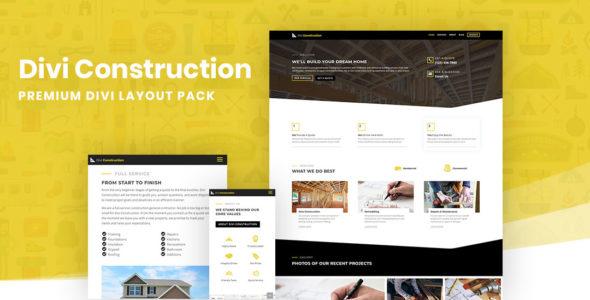 Divi Construction Layout Pack on Divi Cake