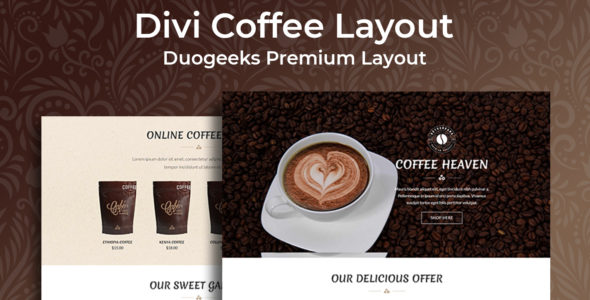 Divi Coffee Layout on Divi Cake