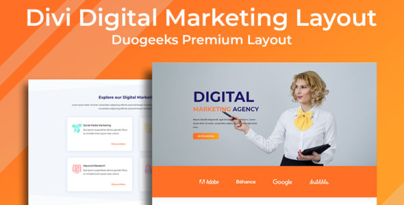 Divi Digital Marketing Layout on Divi Cake