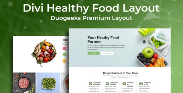Divi Healthy Food Layout on Divi Cake