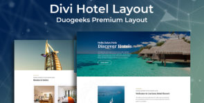 Divi Hotel Layout on Divi Cake