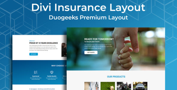 Divi Insurance Layout on Divi Cake