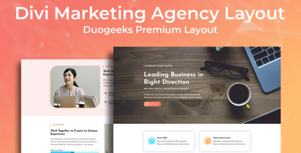 Divi Marketing Agency Layout on Divi Cake