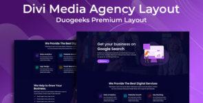 Divi Media Agency Layout on Divi Cake