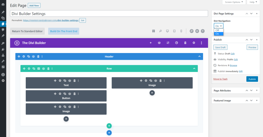 Divi Page Settings