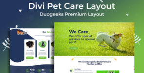 Divi Pet Care Layout on Divi Cake