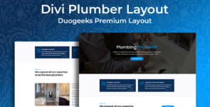 Divi Plumber Layout on Divi Cake