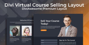 Divi Virtual Course Selling Layout on Divi Cake