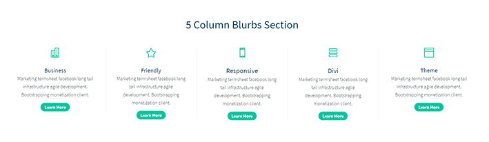 Divi 5 Column Blurbs