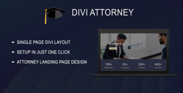 Divi Attorney Single Page Layout on Divi Cake