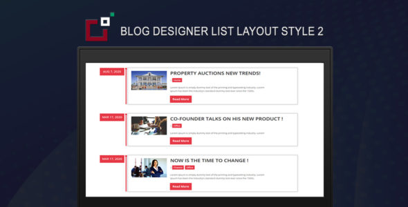 Blog Designer List Layout Style 2 on Divi Cake