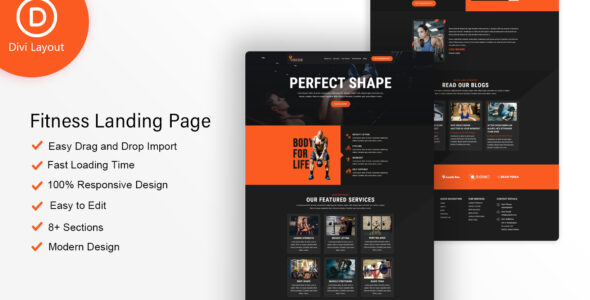 Fitness Layout on Divi Cake
