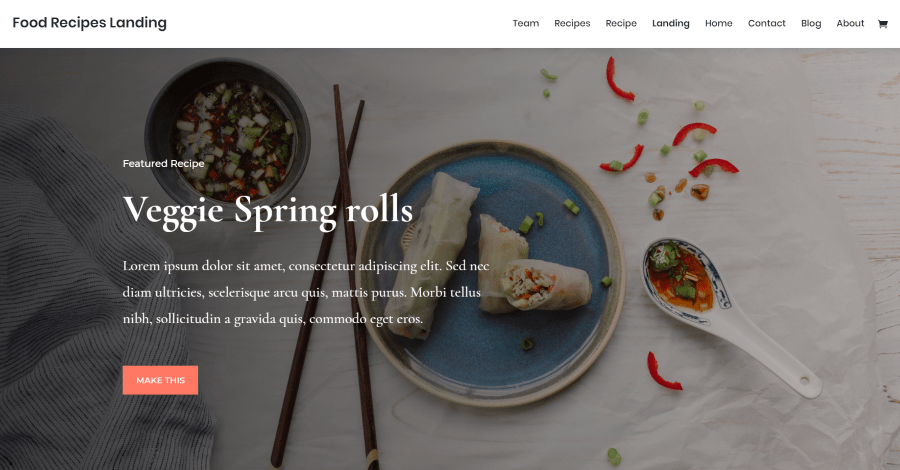 Food Recipes Divi Landing Page Layout