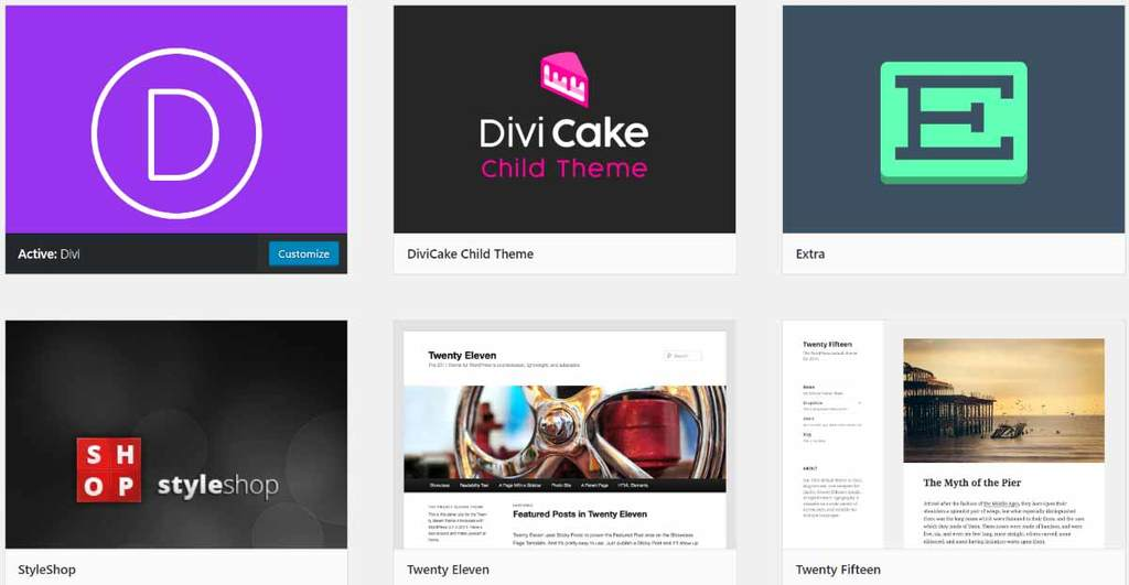 WordPress themes including Divi and Extra
