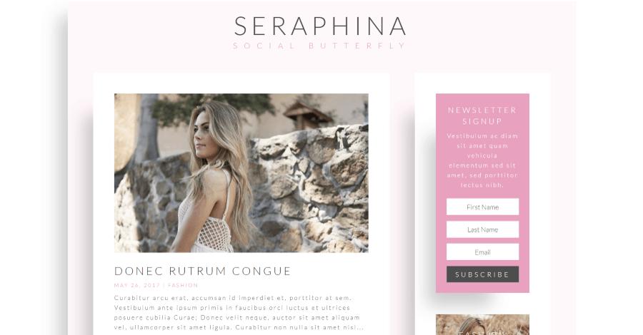 Seraphina Divi blog layout