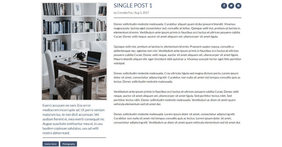 Single post Divi blog layout