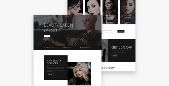 Beauty Salon Divi Layout on Divi Cake