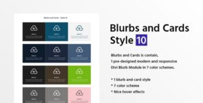 Blurbs and Cards Style 10 on Divi Cake