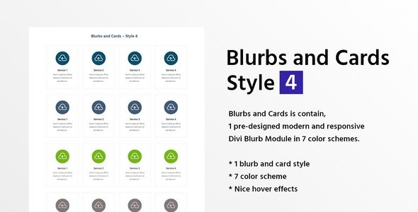 Blurbs and Cards Style 4 on Divi Cake