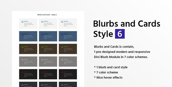 Blurbs and Cards Style 6 on Divi Cake