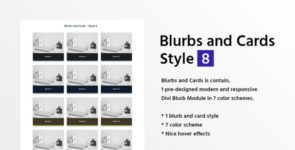 Blurbs and Cards Style 8 on Divi Cake