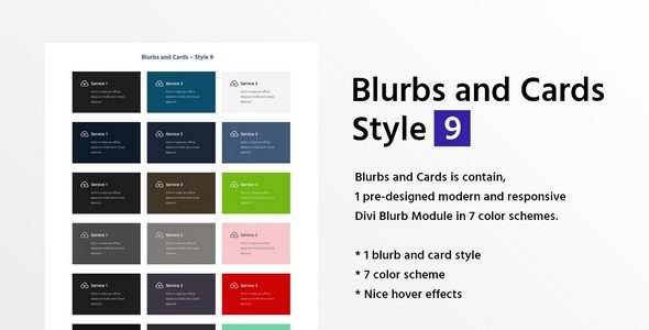 Blurbs and Cards Style 9 on Divi Cake