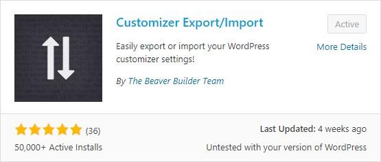 Customizer export/import plugin
