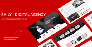 Raily Digital Agency Divi Theme Layout on Divi Cake