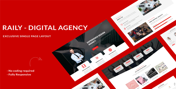 Raily Digital Agency Divi Theme Layout on Divi Cake