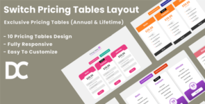 Divi Switch Pricing Tables Layout 3 on Divi Cake