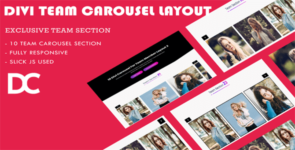 Divi Team Carousel Layout 3 on Divi Cake