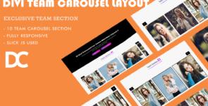 Divi Team Carousel Layout 5 on Divi Cake