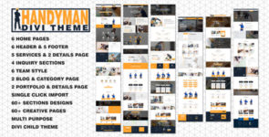 Divi Handyman Multipurpose 60+ Pages Child Theme on Divi Cake