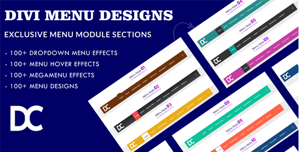 Divi Menu Module Designs Layout Pack 1 on Divi Cake