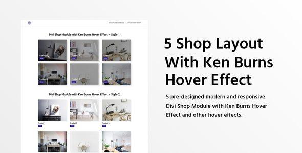5 Divi Shop Module with Ken Burns Hover Effect on Divi Cake
