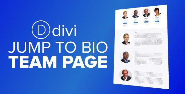 Jump To Bio Team Page on Divi Cake