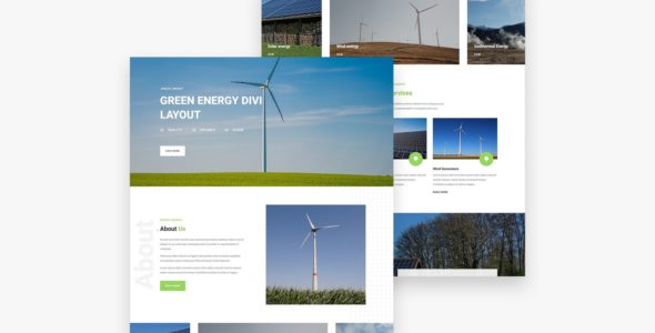 Green Energy Divi Layout on Divi Cake