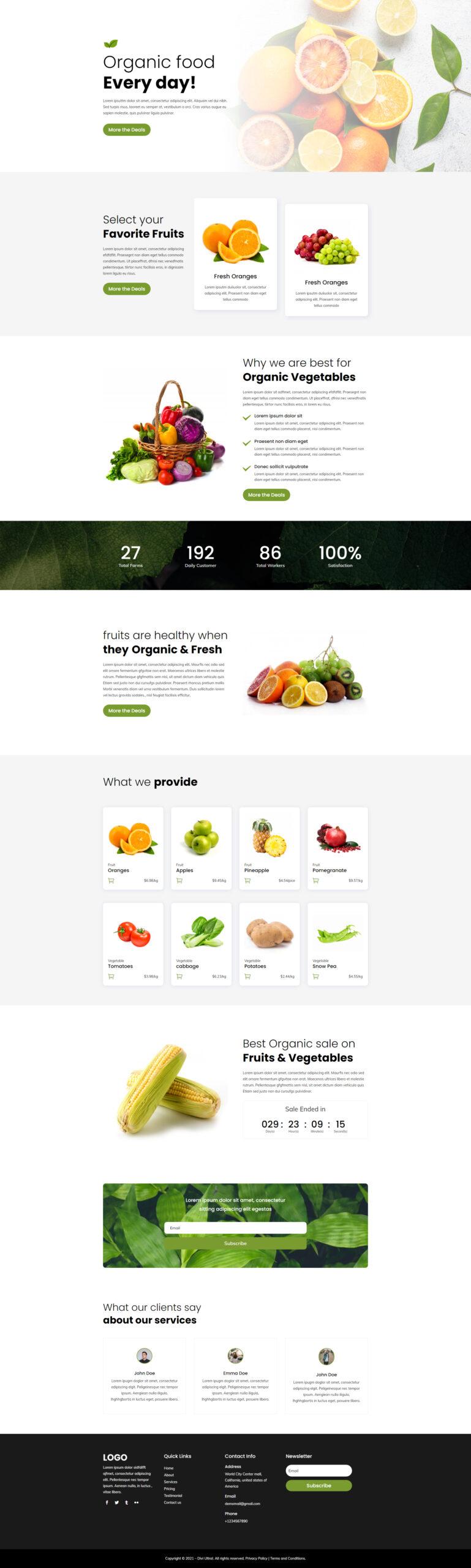 Divi Organic Layout